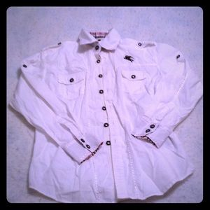 Very White Burberry Shirt- Size L